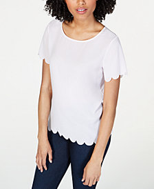 French Connection Scalloped Crepe Top