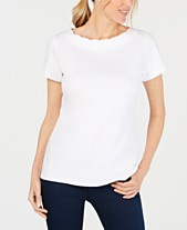 6a11c186972 Karen Scott Petite Cotton Scalloped-Neck Top