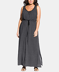 City Chic Trendy Plus Size Printed Monochromatic Maxi Dress