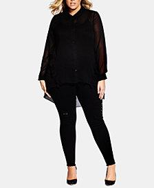 City Chic Trendy Plus Size Ruffled High-Low Shirt