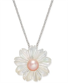 """Pink Cultured Button Freshwater Pearl (6 mm) & Mother-of-Pearl (19-1/2 mm) 18"""" Pendant Necklace in Sterling Silver"""