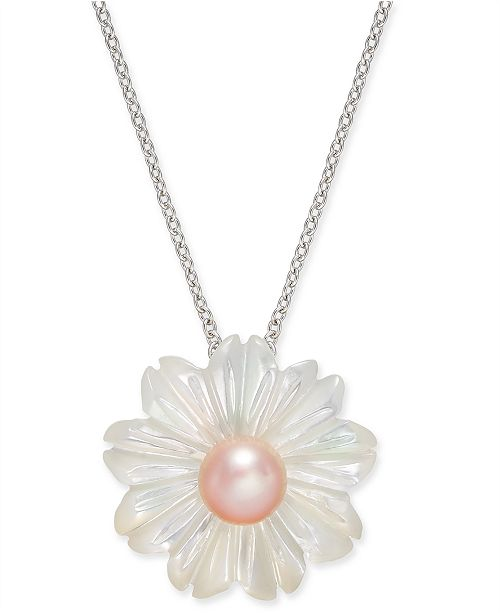 """Macy's Pink Cultured Button Freshwater Pearl (6 mm) & Mother-of-Pearl (19-1/2 mm) 18"""" Pendant Necklace in Sterling Silver"""