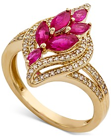 Certified Ruby (1-1/6 ct. t.w.) & Diamond (1/3 ct. t.w.) Leaf Ring in 14k Gold