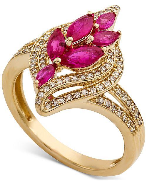 Macy's Certified Ruby (1-1/6 ct. t.w.) & Diamond (1/3 ct. t.w.) Leaf Ring in 14k Gold