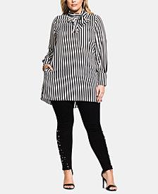 City Chic Trendy Plus Size Striped Tie-Neck Tunic