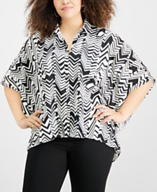 NY Collection Plus Size Printed Poncho Shirt