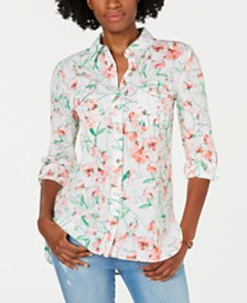 Tommy Hilfiger Floral-Print Roll-Tab Blouse