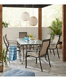 "Reyna Outdoor Aluminum 7-Pc. Dining Set (84"" X 42"" Dining Table and 6 Dining Chairs), Created For Macy's"