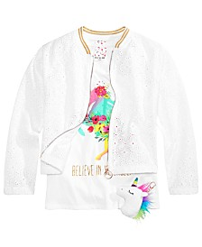 Belle Du Jour Big Girls 3-Pc. Floral-Print Bomber Jacket, Tank Top & Necklace Set