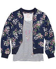 Belle Du Jour Big Girls 3-Pc. Floral-Print Bomber Jacket, Striped Tank Top & Necklace Set