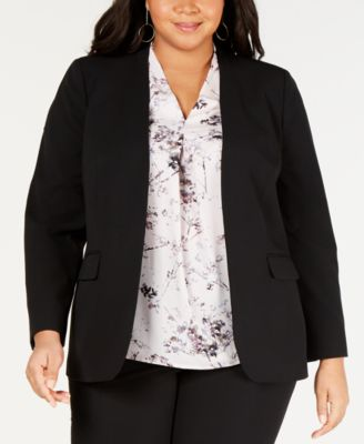 Trendy Plus Size Open-Front Blazer, Created for Macy's