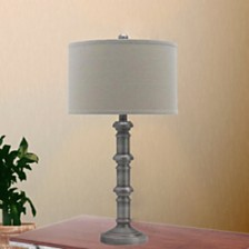 """Fangio Lighting's 1596AS 31"""" Antique Metal Stacked Table Lamp"""