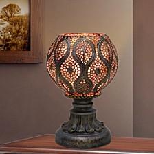"""1603 9"""" Moroccan Filigree Pedestal Metal Uplight"""