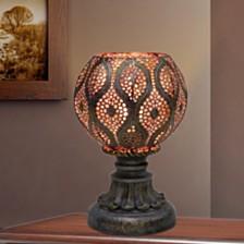 "Fangio Lighting's 1603 9"" Moroccan Filigree Pedestal Metal Uplight"