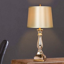 """Fangio Lighting's 5160 Pair of 28"""" Mercury Glass And Brass Table Lamps"""