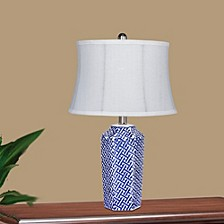 "8988 22"" Crisscross Ceramic Urn Table Lamp"
