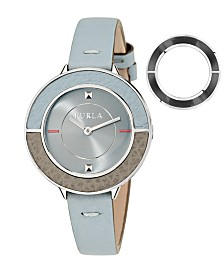 Furla Women's Club Blue Dial Calfskin Leather Watch