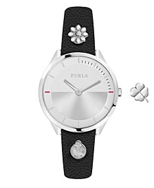 Women's Pin Silver Dial Calfskin Leather Watch
