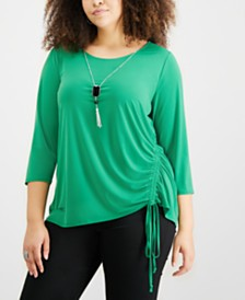 NY Collection Plus Size Ruched Necklace Top