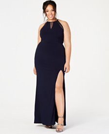 City Studios Trendy Plus Size Illusion Slit Gown