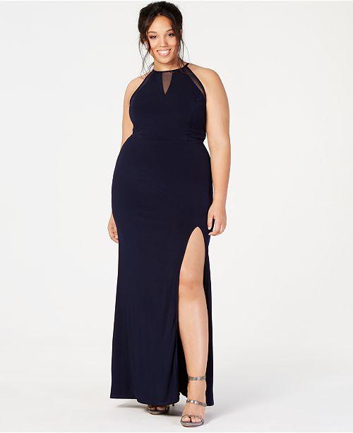City Studios Trendy Plus Size Illusion Slit Gown