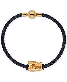 Dragon Charm Leather Bracelet in 22k Gold