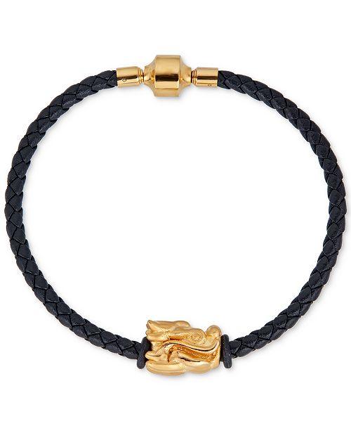 Macy's Dragon Charm Leather Bracelet in 22k Gold