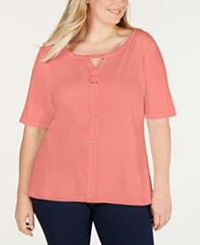 Karen Scott Plus Size Cotton Studded T-Shirt, Created for Macy's