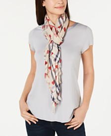 V. Fraas Heart-Print Plaid Scarf