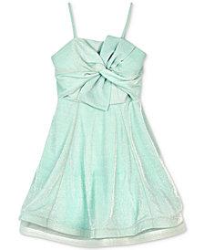 BCX Big Girls Sparkle Knit Bow-Front Dress
