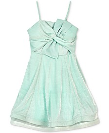 BCX Big Girls Sparkle Knit Bow-Front Dress
