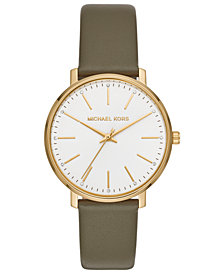 Michael Kors Women's Pyper Olive Leather Strap Watch 38mm