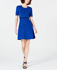 Maison Jules Scalloped-Trim Sweater Dress, Created for Macy's