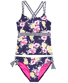DKNY Big Girls 2-Pc. Striped Floral Sunsuit Tankini