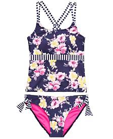 DKNY Big Girls 2-Pc. Striped Floral Sunsuit Tankini