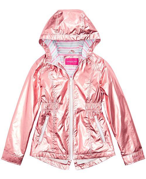 London Fog Big Girls Hooded Metallic Jacket