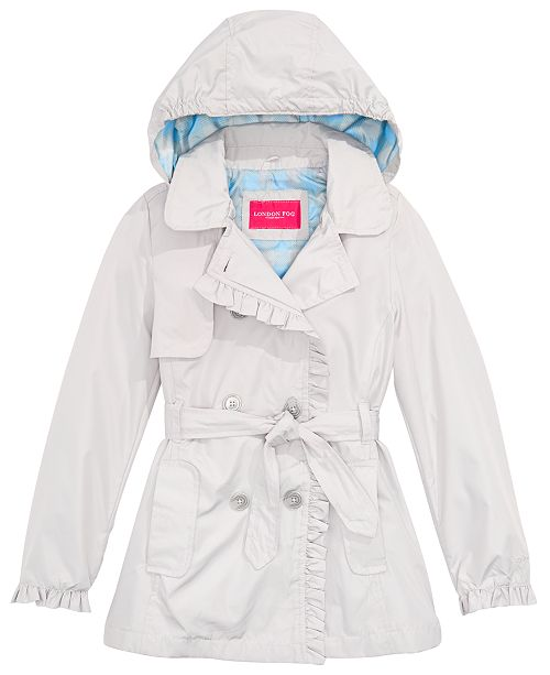 Jessica Simpson London Fog Big Girls Ruffled Trench Coat With Removable Hood
