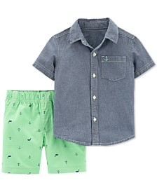 21064369bea Carter s Baby Boys 2-Pc. Cotton Chambray Shirt   Shorts Set