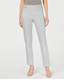 JM Collection Petite Tummy Control Double-Ring Pants, Created for Macy's