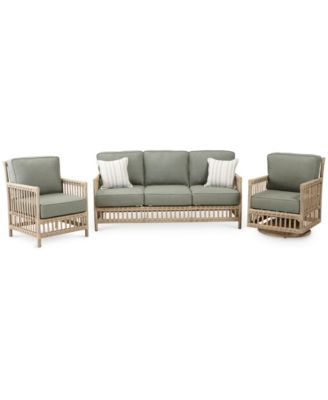 Lavena Outdoor 3-Pc. Seating Set (1 Sofa, 1 Club Chair & 1 Swivel Chair) with Sunbrella® Cushions, Created for Macy's