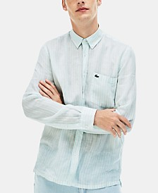 Lacoste Men's Regular-Fit Stripe Linen Shirt