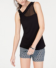 INC Illusion-Detail Twist Tank Top, Created for Macy's