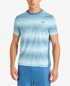 Lacoste Men's Ultra Dry Moisture-Wicking Colorblocked Ombré-Stripe Piqué T-Shirt