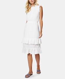 Avec Les Filles Mockneck Ruffled Dress