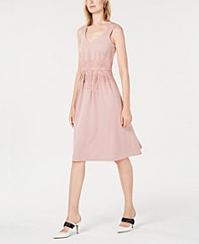 Alfani Curvy-Fit Lace-Trim Midi Dress, Created for Macy's