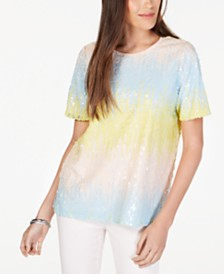 Alfani Ombré Sequinned Top, Created for Macy's