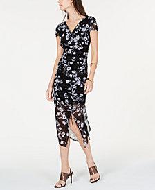 I.N.C. Petite Printed Mesh Ruched Dress, Created for Macy's
