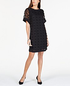 Petite Textured-Dot A-Line Dress, Created for Macy's