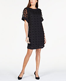 Alfani Petite Textured-Dot A-Line Dress, Created for Macy's