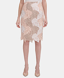 Calvin Klein Colorblocked Lace Pencil Skirt